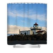 Point No Point Lighthouse Shower Curtain