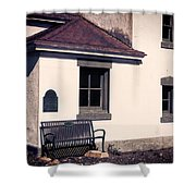 Point Wilson Lighthouse Bench Shower Curtain