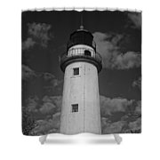 Pointe Aux Barques Lighthouse Black And White Shower Curtain