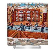 Pointe St. Charles Hockey Rink Southwest Montreal Winter City Scenes Paintings Shower Curtain