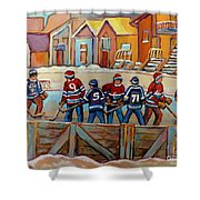 Pointe St. Charles Hockey Rinks Near Row Houses Montreal Winter City Scenes Shower Curtain