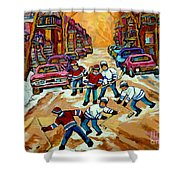 Pointe St.charles Hockey Game Winter Street Scenes Paintings Shower Curtain