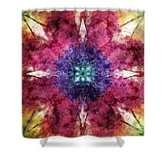 Pointed Star Flower Watercolor Shower Curtain