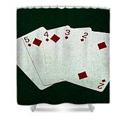 Poker Hands - Straight Flush 4 Shower Curtain