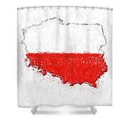 Poland Painted Flag Map Shower Curtain