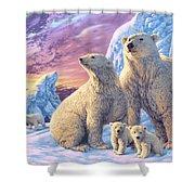 Polar Bear Family Shower Curtain