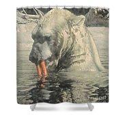 Polar Bear Snacking Shower Curtain