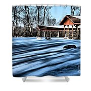 Pole Barns In The Winter Shower Curtain