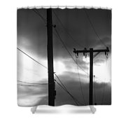Poles And Sunsets In Black And White Shower Curtain