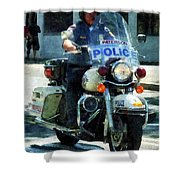 Police - Motorcycle Cop Shower Curtain