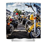 Police Motorcycle Lineup Shower Curtain