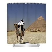 Police Officer On A Camel In Front Of Pyramid In Cairo Egypt Shower Curtain