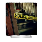 Police Tape Blocking Bloody Stairs Shower Curtain