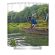 Poling A Dugout Canoe In The Rapti River In Chitwan National Park-nepal Shower Curtain