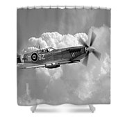 Polish Spitfire Ace Bw Shower Curtain
