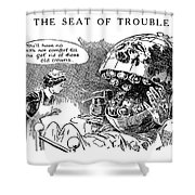 Political Cartoon, 1916 Shower Curtain