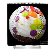 Polka Dot Cupcake Baseball Square Shower Curtain by Andee Design