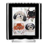 Polka Dot Family Pets With Borders - Whimsical Art Shower Curtain