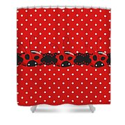 Polka Dot Lady Bugs Graphics By Kika Esteves  With Custom Coordinated Design Crafted By D Miller.  Shower Curtain