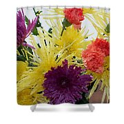 Polka Dot Mums And Carnations Shower Curtain