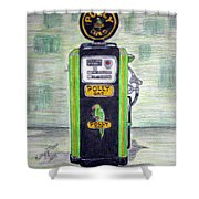 Polly Gas Pump Shower Curtain