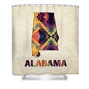 Polygon Mosaic Parchment Map Alabama Shower Curtain