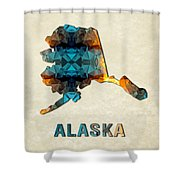 Polygon Mosaic Parchment Map Alaska Shower Curtain