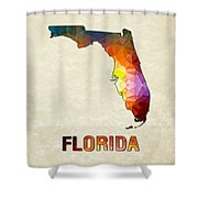 Polygon Mosaic Parchment Map Florida Shower Curtain