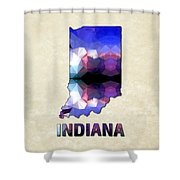 Polygon Mosaic Parchment Map Indiana Shower Curtain