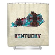 Polygon Mosaic Parchment Map Kentucky Shower Curtain