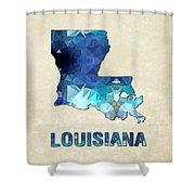 Polygon Mosaic Parchment Map Louisiana Shower Curtain