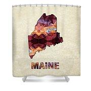Polygon Mosaic Parchment Map Maine Shower Curtain