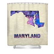 Polygon Mosaic Parchment Map Maryland Shower Curtain