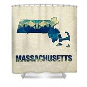 Polygon Mosaic Parchment Map Massachusetts Shower Curtain