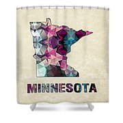 Polygon Mosaic Parchment Map Minnesota Shower Curtain
