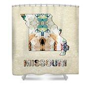 Polygon Mosaic Parchment Map Missouri Shower Curtain