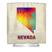 Polygon Mosaic Parchment Map Nevada Shower Curtain