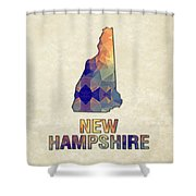 Polygon Mosaic Parchment Map New Hampshire Shower Curtain