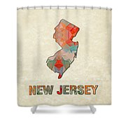 Polygon Mosaic Parchment Map New Jersey Shower Curtain