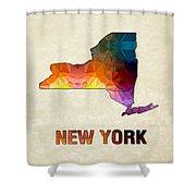 Polygon Mosaic Parchment Map New York Shower Curtain