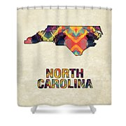 Polygon Mosaic Parchment Map North Carolina Shower Curtain