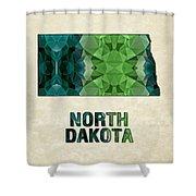 Polygon Mosaic Parchment Map North Dakota Shower Curtain