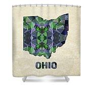 Polygon Mosaic Parchment Map Ohio Shower Curtain