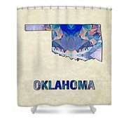 Polygon Mosaic Parchment Map Oklahoma Shower Curtain
