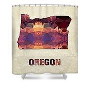 Polygon Mosaic Parchment Map Oregon Shower Curtain