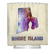 Polygon Mosaic Parchment Map Rhode Island Shower Curtain