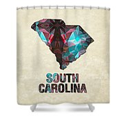 Polygon Mosaic Parchment Map South Carolina Shower Curtain