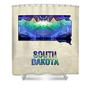 Polygon Mosaic Parchment Map South Dakota Shower Curtain