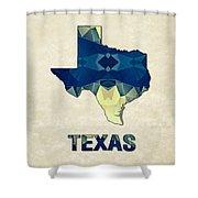 Polygon Mosaic Parchment Map Texas Shower Curtain