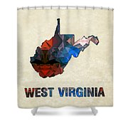 Polygon Mosaic Parchment Map West Virginia Shower Curtain